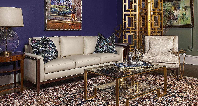 Gold Cream Sofa Glass Coffee Table Accent Chair - Custom High Quality Furniture Store Birmingham Michigan