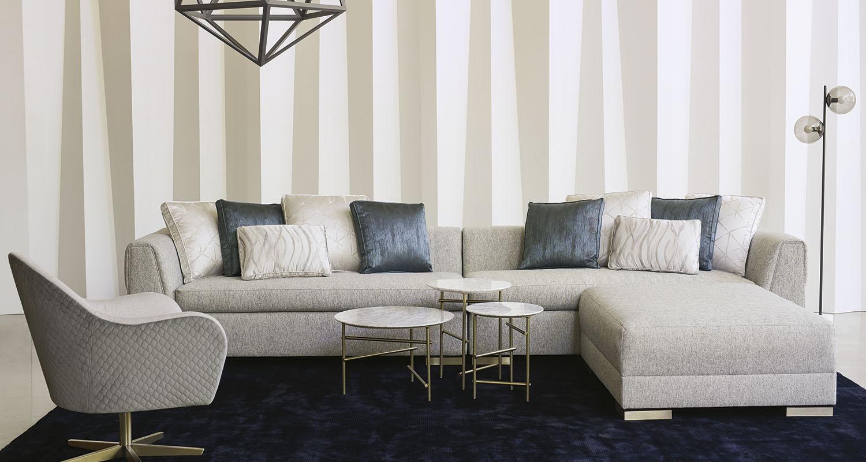 Caracole Sectional Grey Blue White - Custom High Quality Furniture Store Birmingham Michigan
