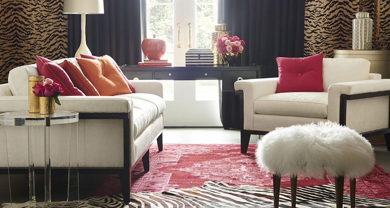 White Sofa matching Accent Chairs and Ottoman - Sherrill - Custom High Quality Furniture Store Birmingham Michigan