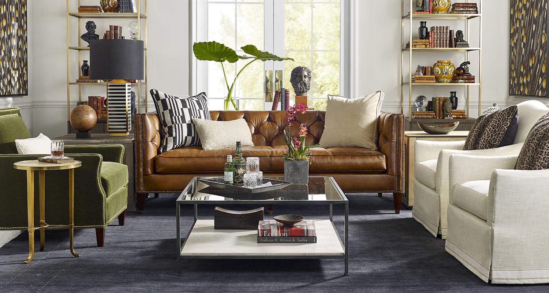 Sherrill Designer Classics Leather Sofa - Custom High Quality Furniture Store Birmingham Michigan