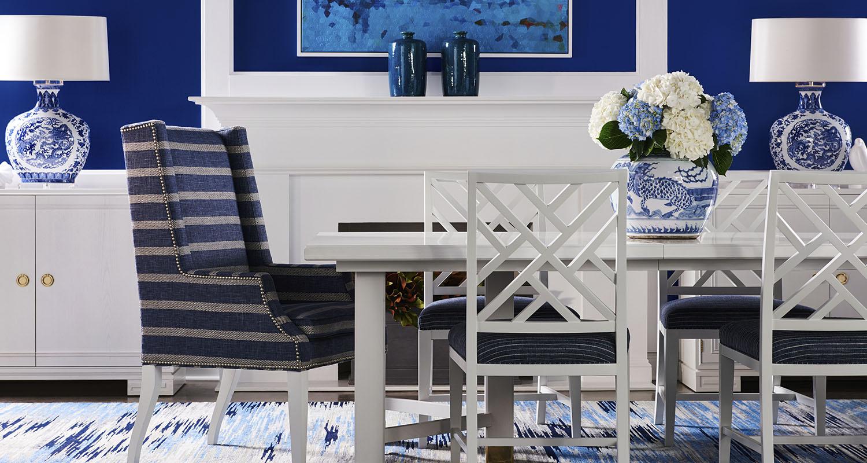 Sherrill White Dining Room Table Blue Cushions - Custom High Quality Furniture Store Birmingham Michigan