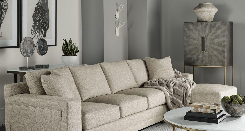 Theo Upholstery Cream Tweed Couch Sofa - Custom High Quality Furniture Store Birmingham Michigan
