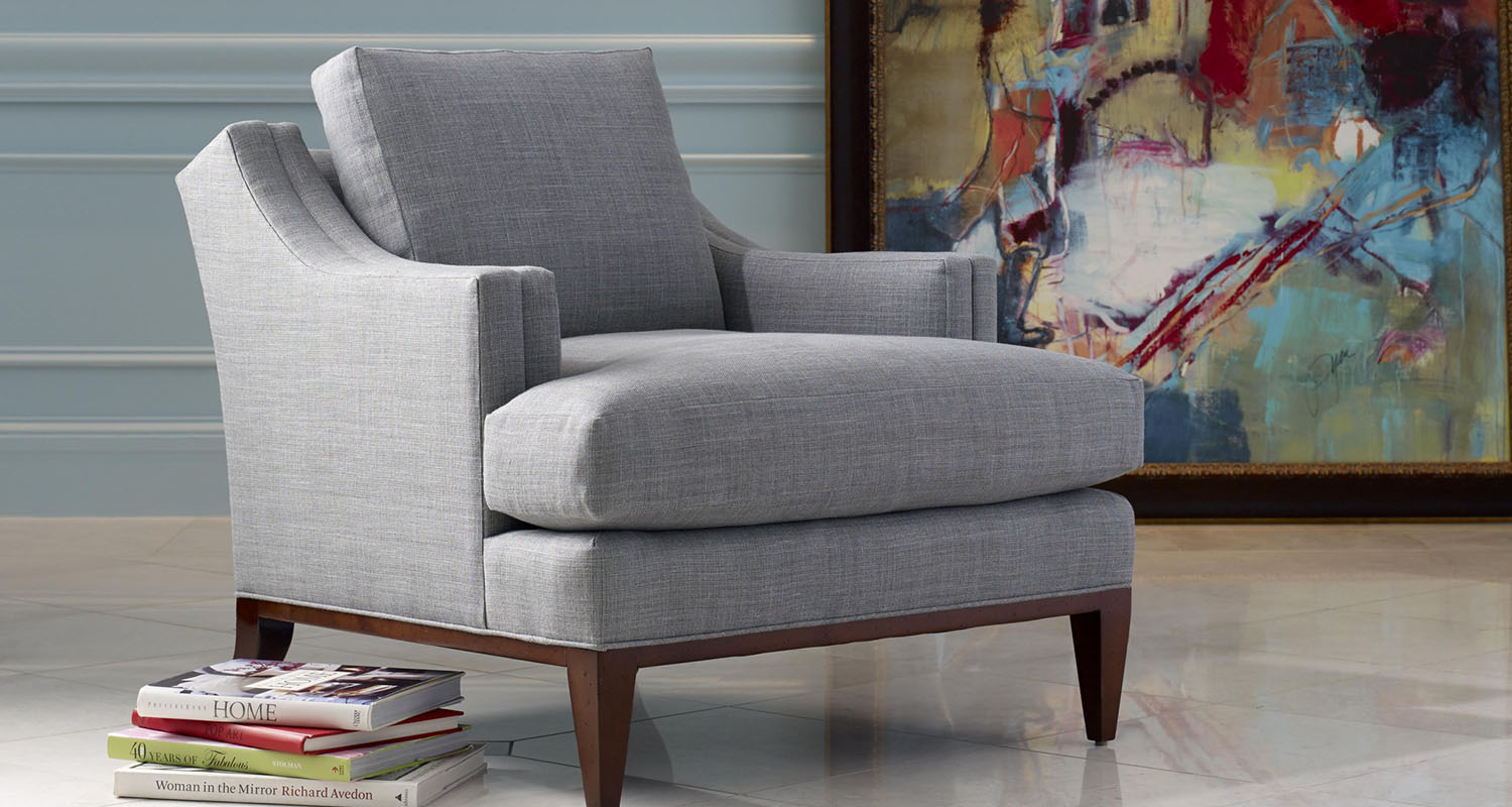 Theo Upholstery Blue Tweed Accent Chair - Custom High Quality Furniture Store Birmingham Michigan
