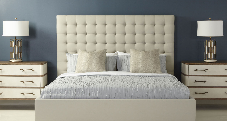 Padded Headboard white bedroom set - Theo Custom High Quality Furniture Store Birmingham Michigan