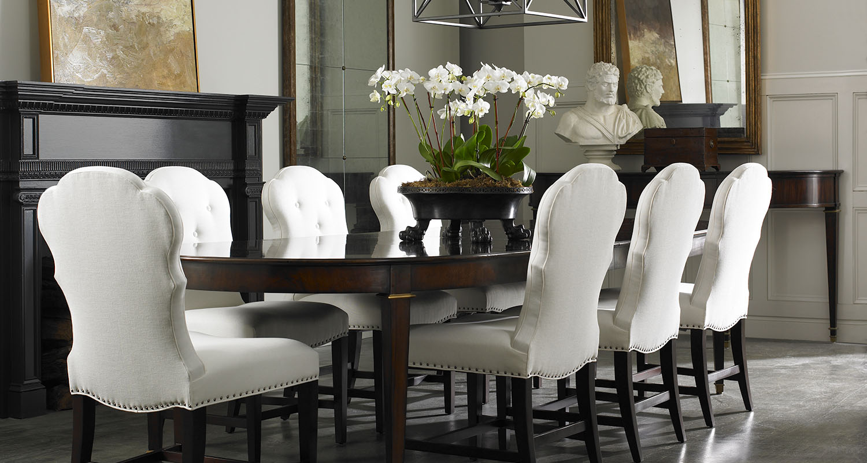 Dining Room Sherrill - White Chairs Walnut Finish - High Quality Furniture Store Birmingham Michigan